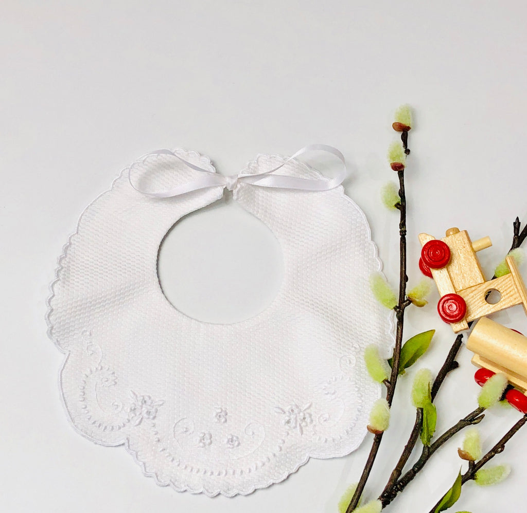 Hand Embroidered Bib in White