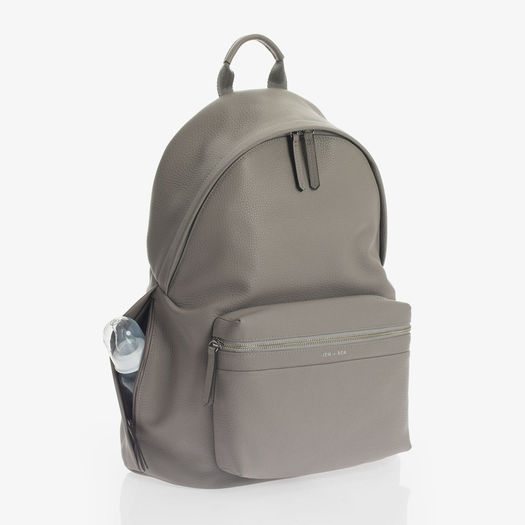 Jem + Bea Jamie Leather Backpack Grey - The Baby Service