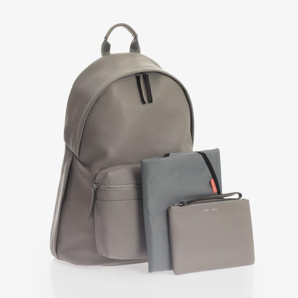 Jem + Bea Jamie Leather Backpack Grey - Luxury Changing Bag - The Baby Service
