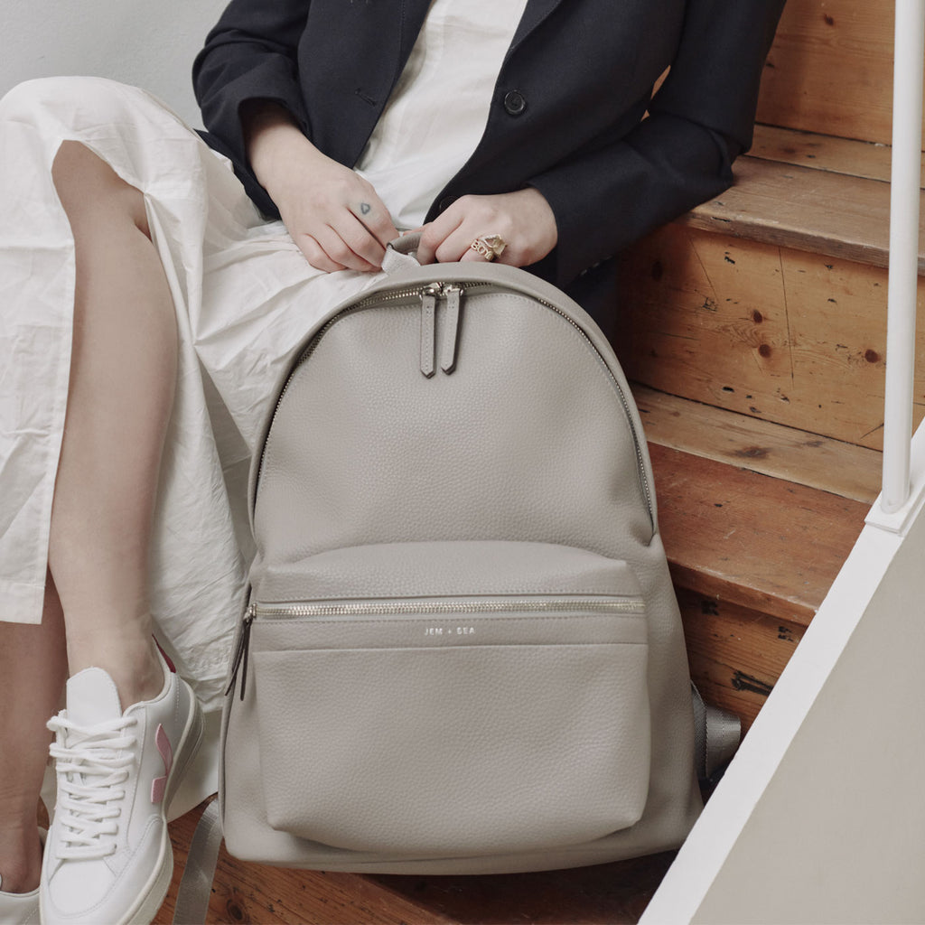 Jem + Bea Jamie Leather Backpack Grey