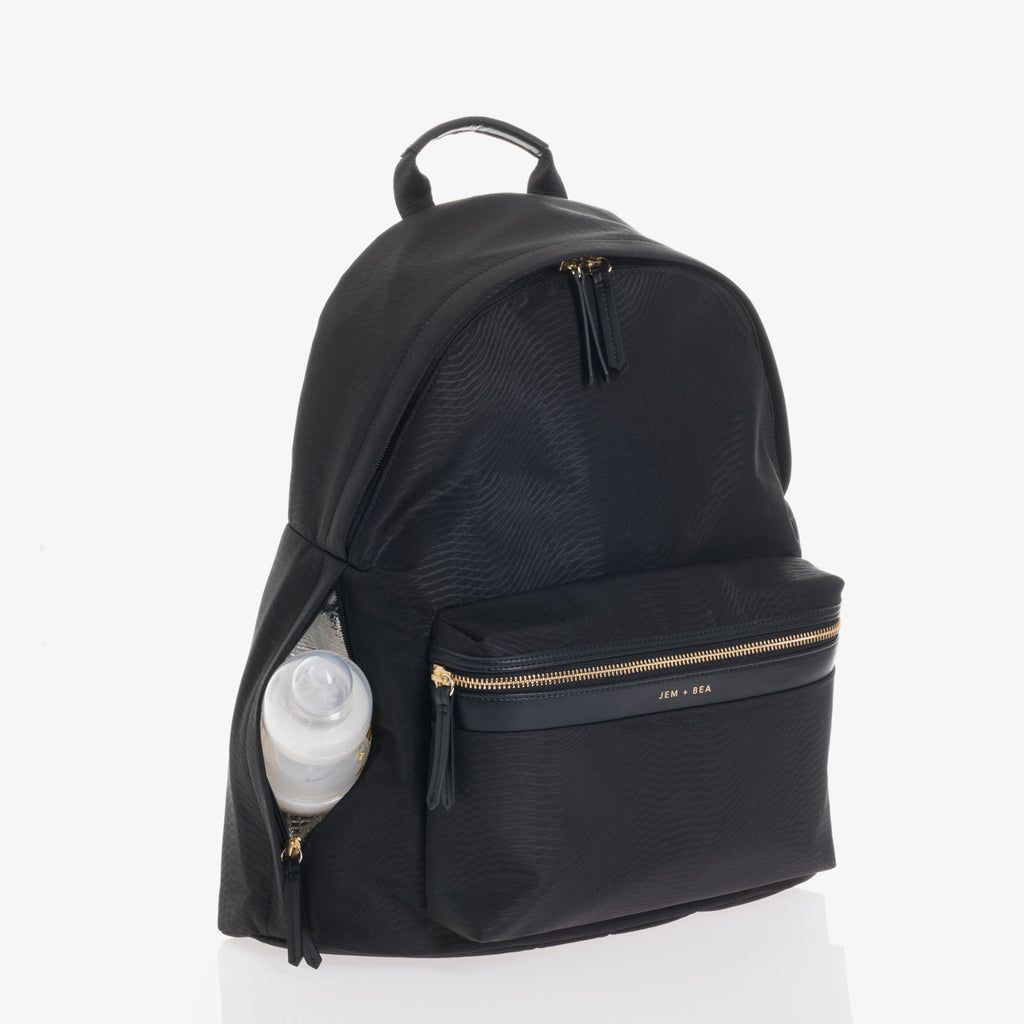 Jem + Bea Jamie Nylon Backpack in Python Black - The Baby Service