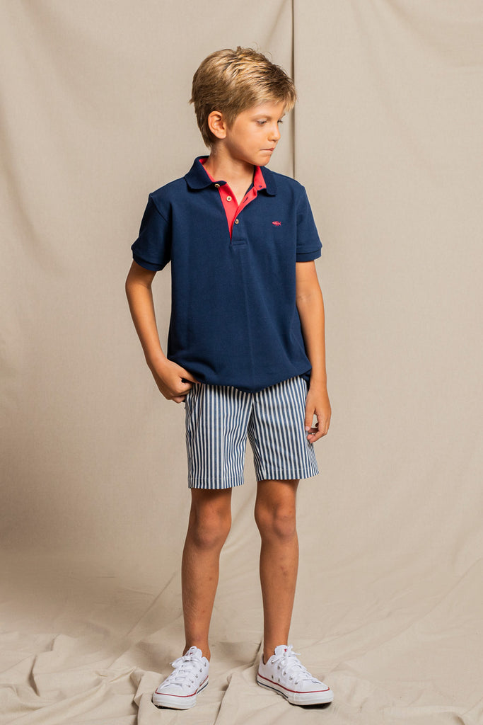 Fina Ejerique - Classic Blue Embroidered Polo & Striped Shorts Set - The Baby Service