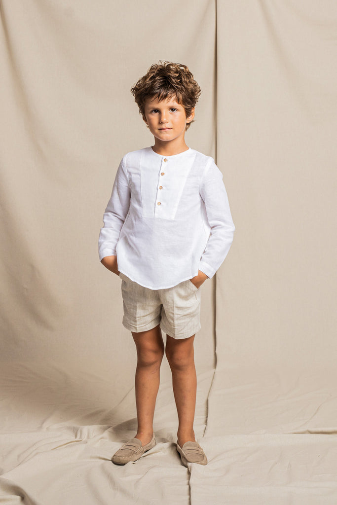 Fina Ejerique - White Linen Shirt & Natural  Linen Shorts Set - The Baby Service