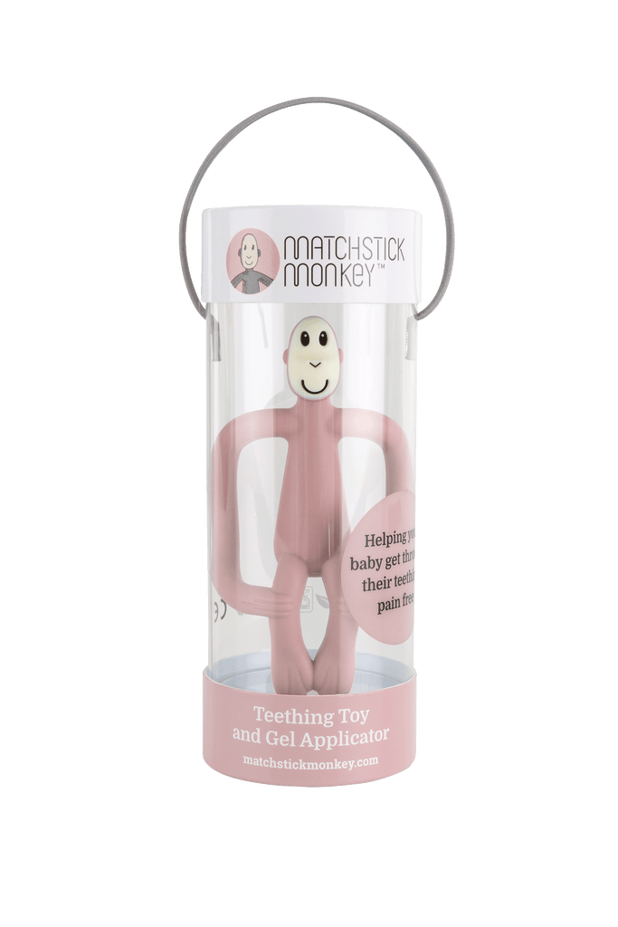 Matchstick Monkey Teething Toy and Gel Applicator - Dusty Pink - The Baby Service - Packaged