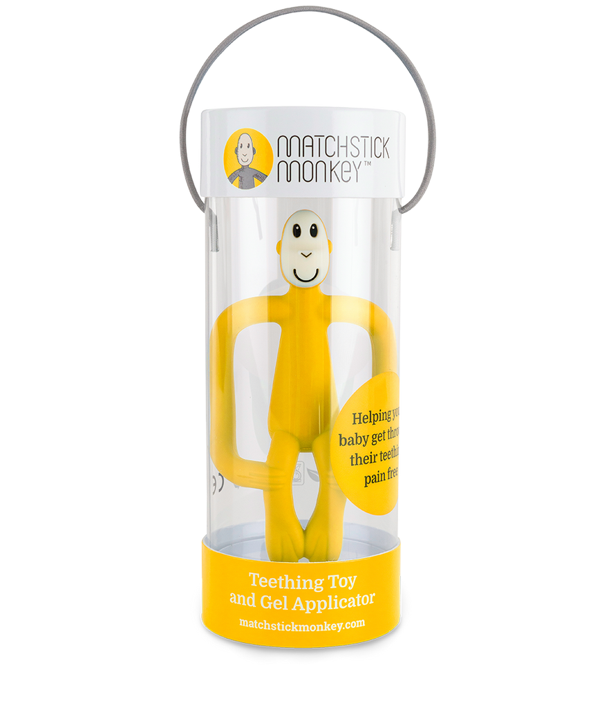 Matchstick Monkey Teething Toy and Gel Applicator - Yellow - The Baby Service - Packaged