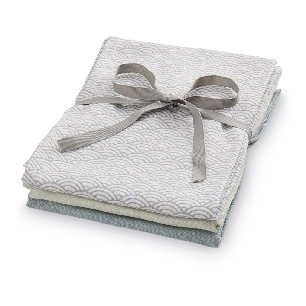 Cam Cam Copenhagen Muzy Musy Muslin Cloths Mixed 3 Pack in Mix Grey Wave