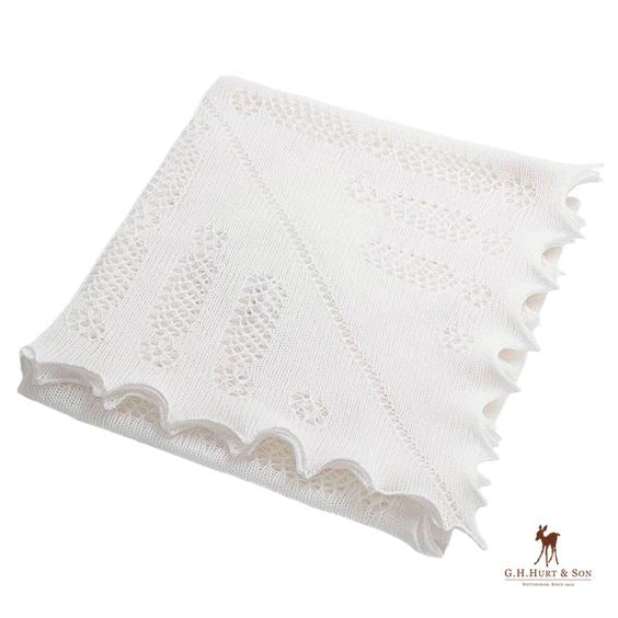 Lace Knitted Blanket, Ivory White