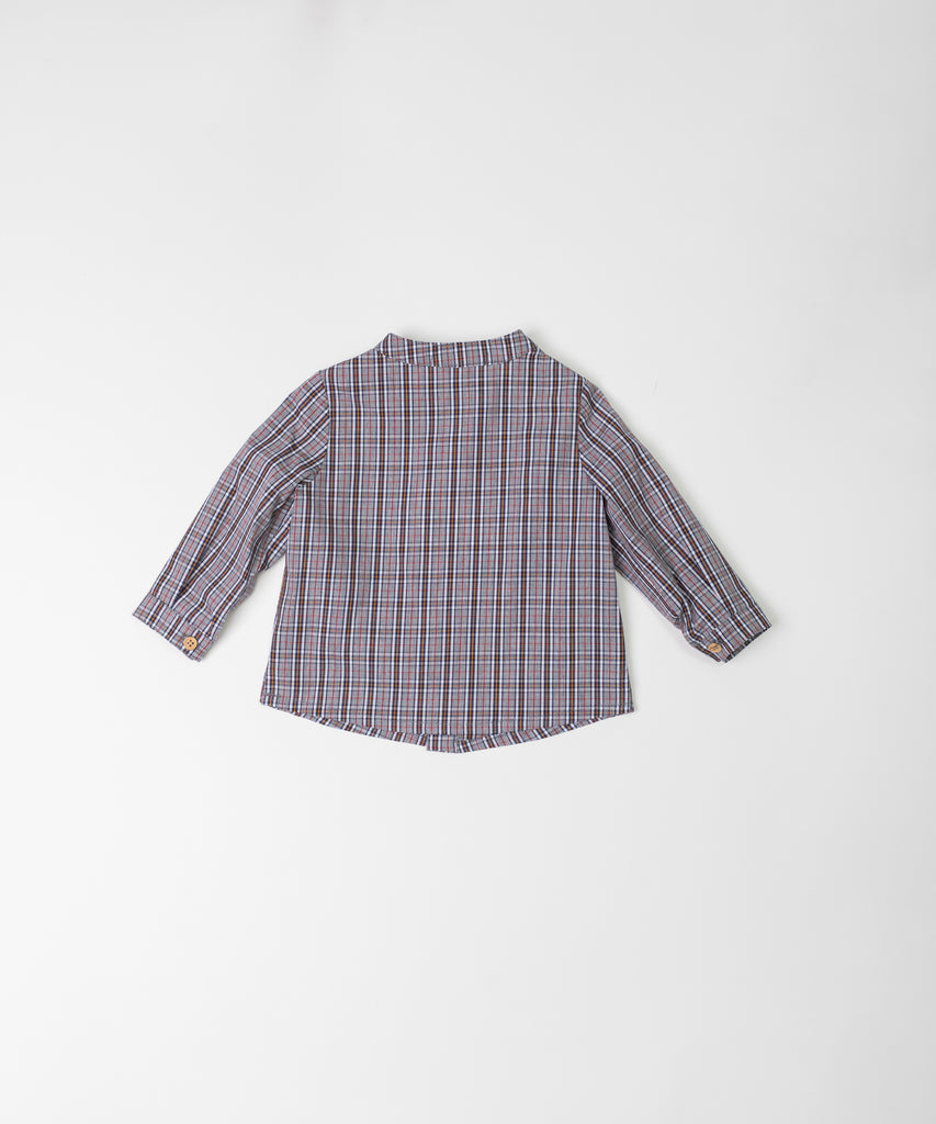 Boys Collarless Cotton Plaid Shirt | Boys Clothing | The Baby Service