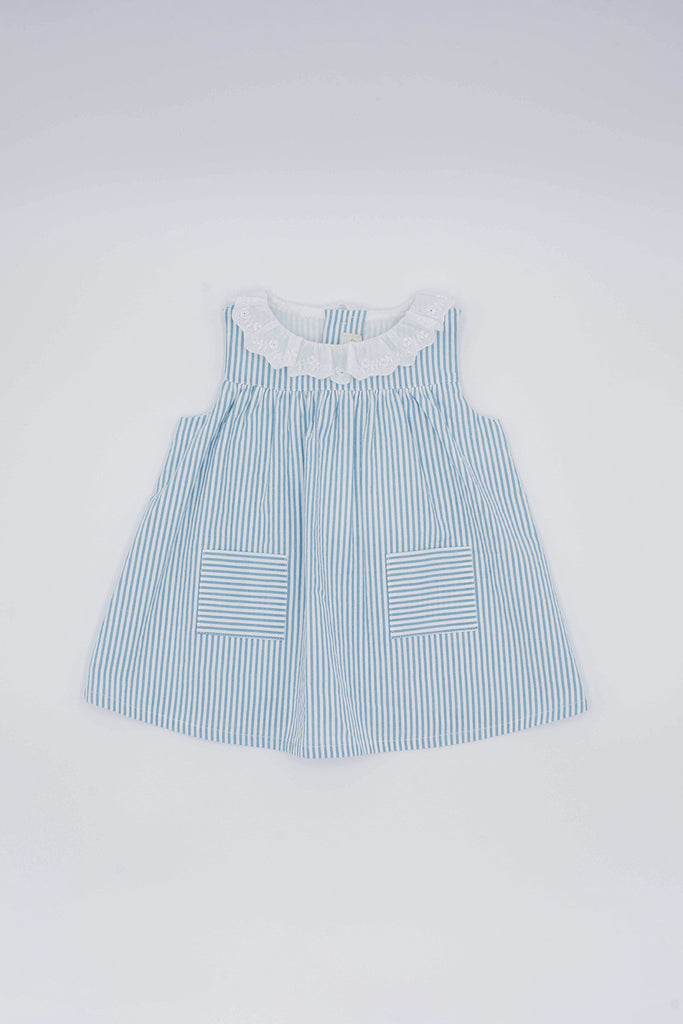 Fina Ejerique - Blue Striped Dress with Lace Collar - The Baby Service