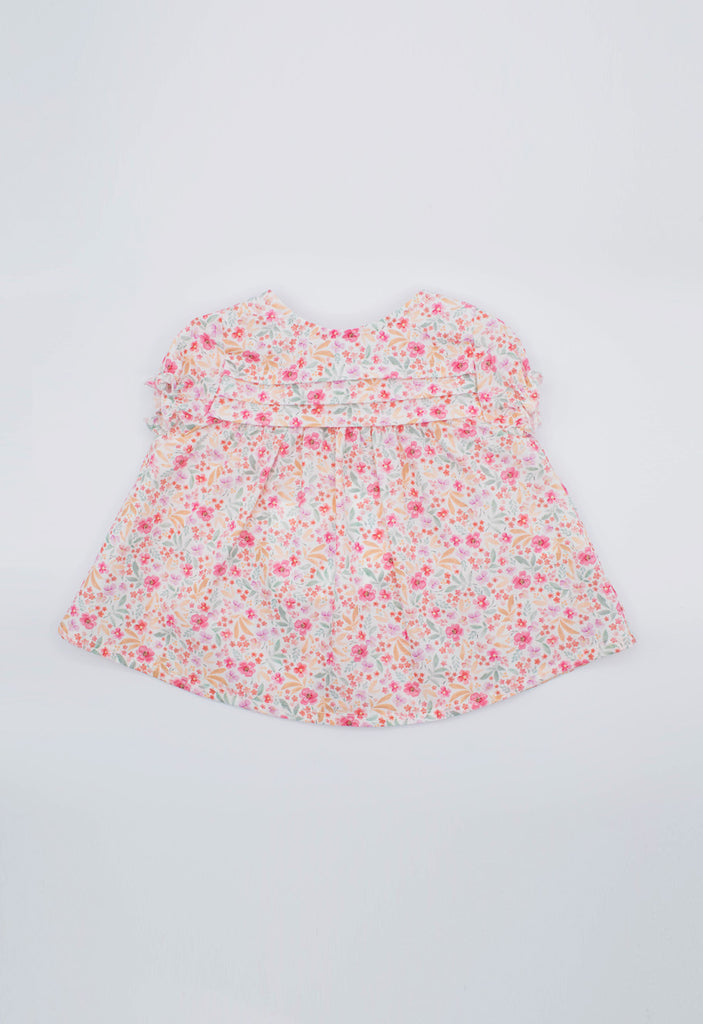 Fina Ejerique - Floral Blouse and Coral Bow Shorts 2 Piece Set - The Baby Service