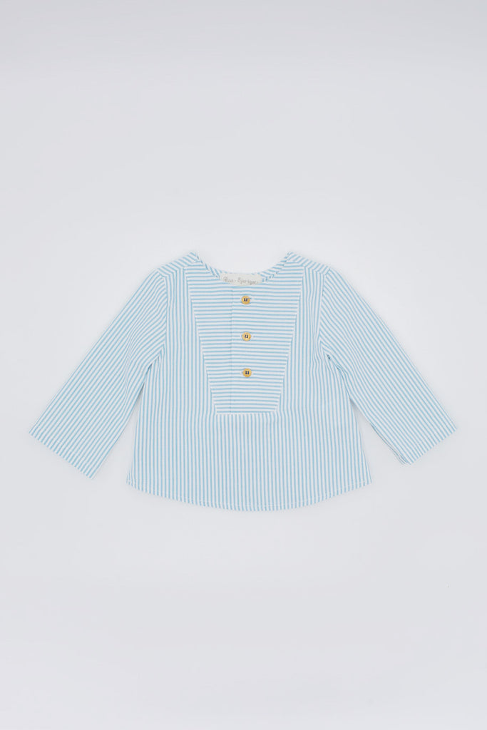 Fina Ejerique - Blue Striped Shirt with White Twill Shorts Set - The Baby Service
