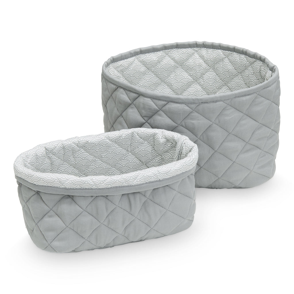 Cam Cam Quilted Storage Basket - Set of Two - Grey - The Baby Service