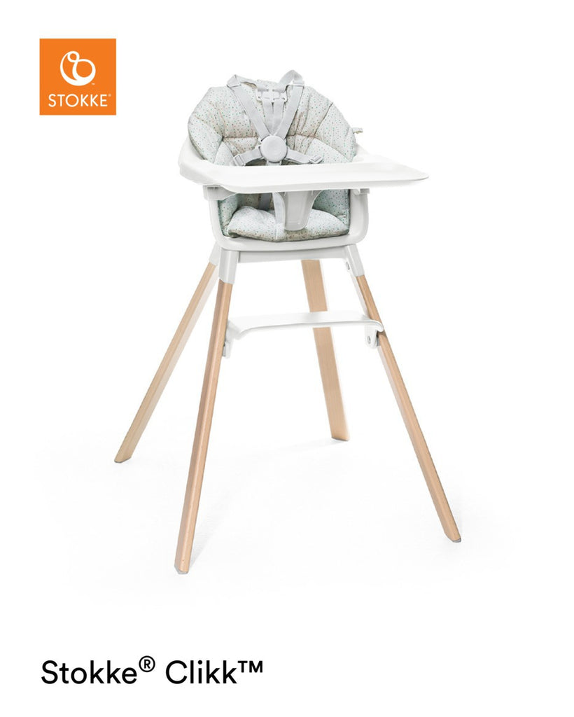 Stokke Clikk Highchair - White Feeding Chair with Cushion - The Baby Service