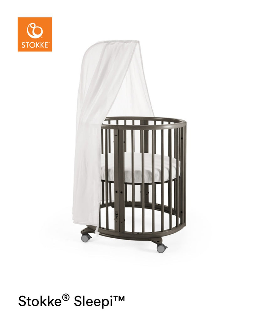 Stokke Sleepi Mini Crib with Mattress - Hazy Grey with Canopy - The Baby Service