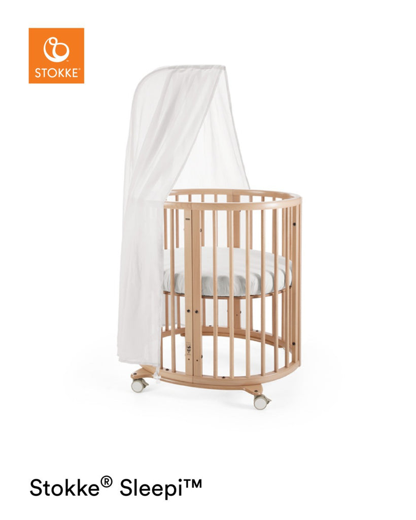 Stokke Sleepi Mini Crib with Mattress - Natural - With Canopy - The Baby Service