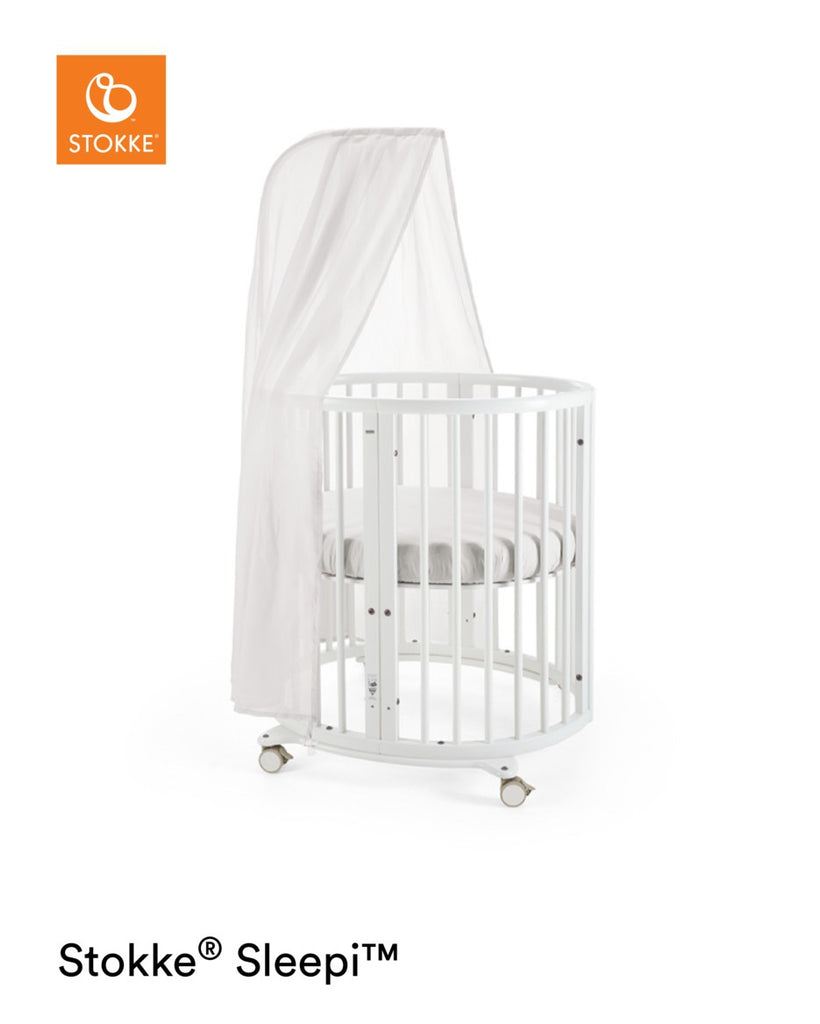 Stokke Sleepi Mini with Mattress - White with Canopy - The Baby Service