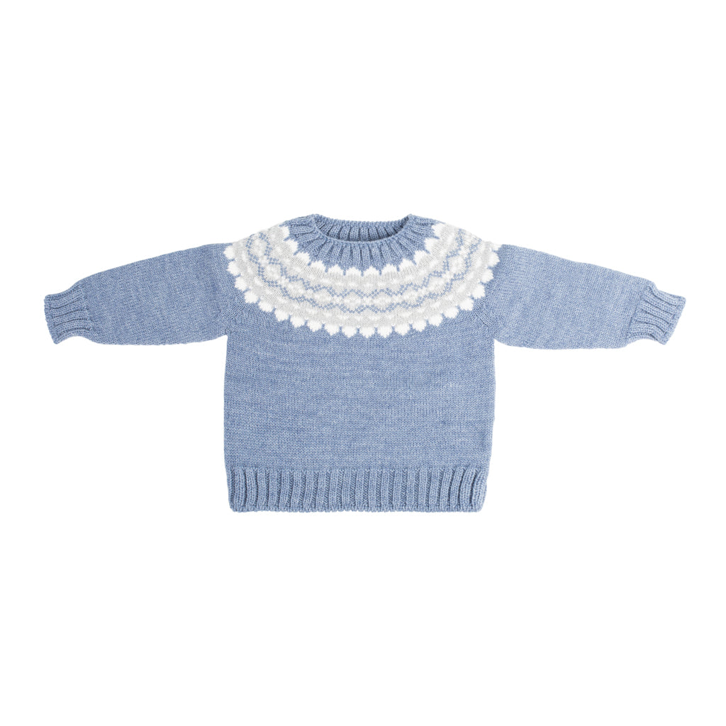Fina Ejerique - Boys Blue Jacquard Sweater - Kid's Clothing - The Baby Service