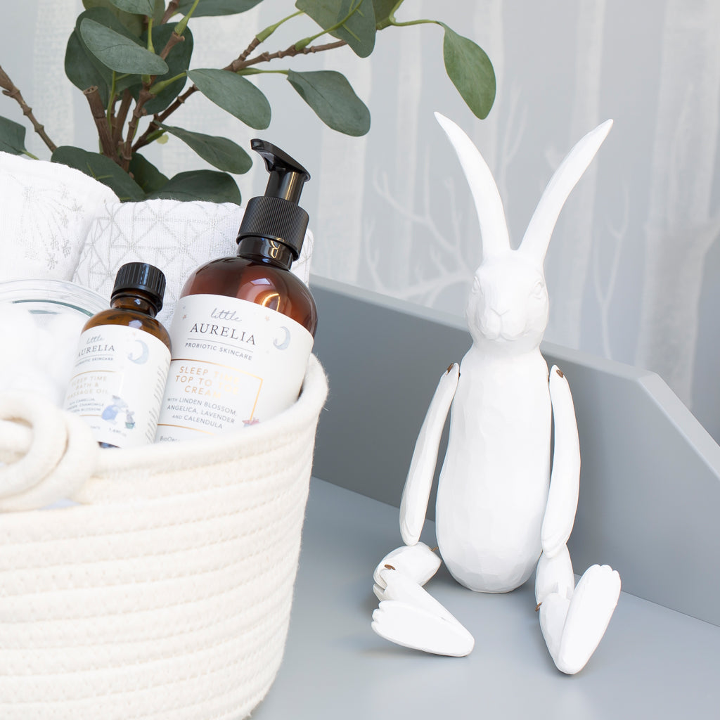White Wooden Effect Jointed Rabbit - The Baby Service