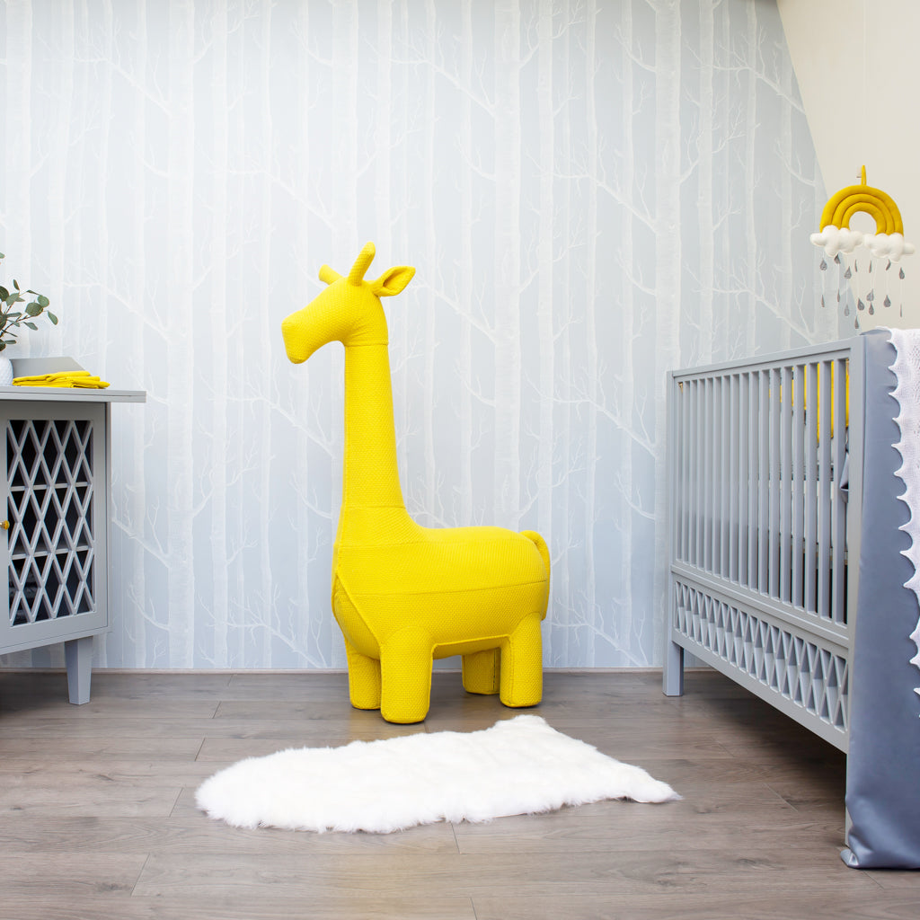 Knitted Yellow Giraffe Stool - Nursery Ideas - The Baby Service