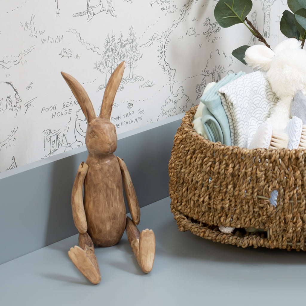 Brown Wooden Effect Jointed Rabbit - The Baby Service