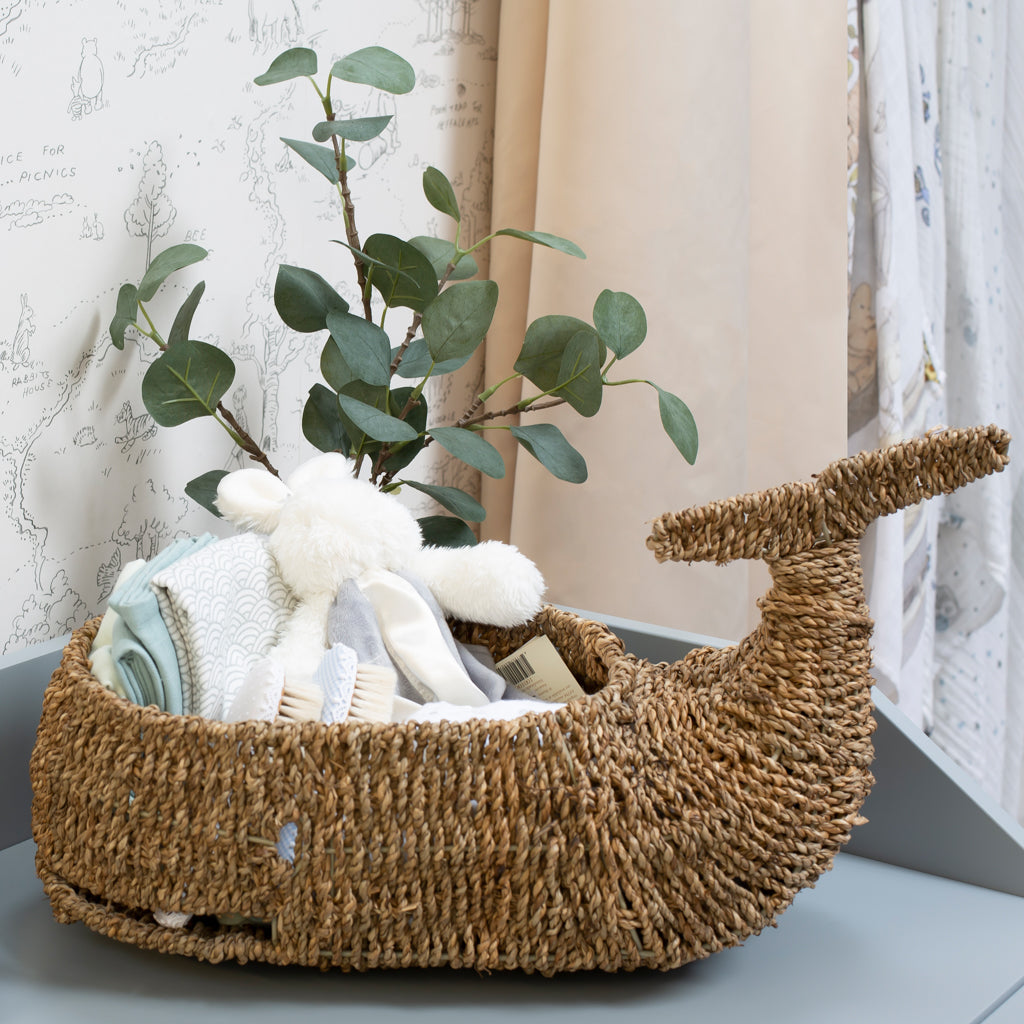 Whale Sea Grass Basket - The Baby Service