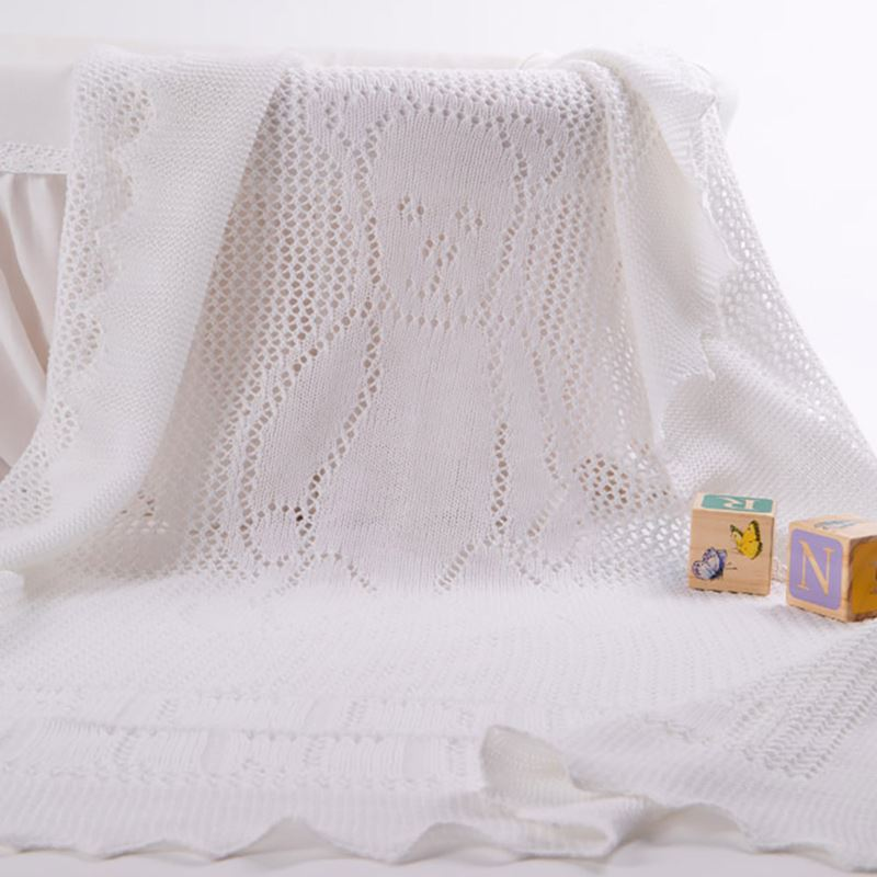 G H Hurt & Son - Teddy Alphabet Baby Shawl White - Luxury Blankets - The Baby Service
