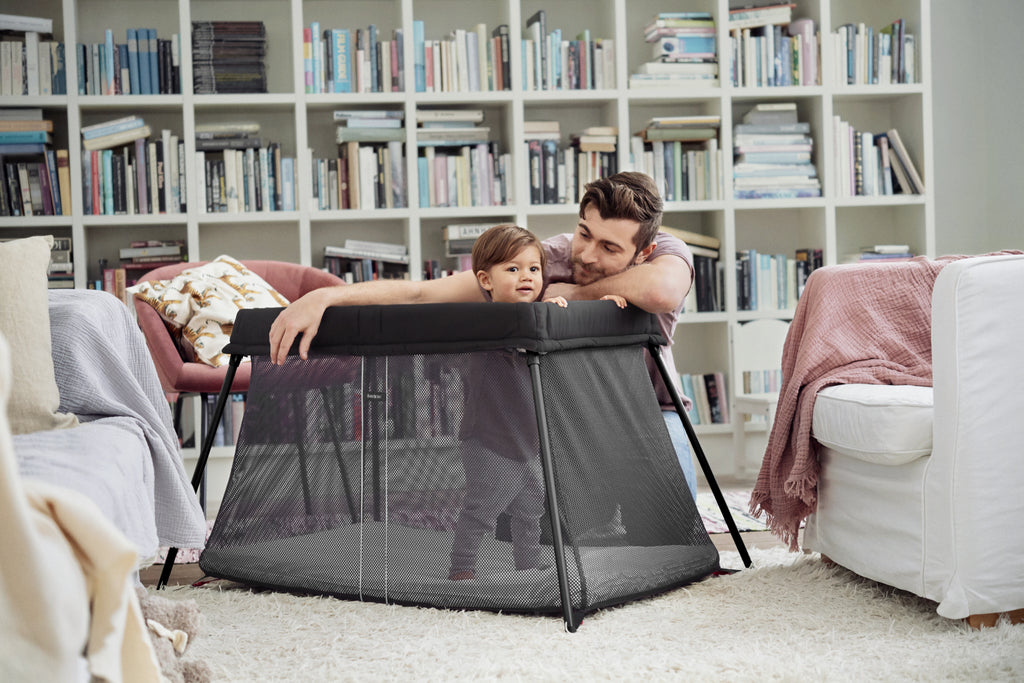 BabyBjorn Travel Cot Black with Fitted Sheet - The Baby Service - Lifestyle
