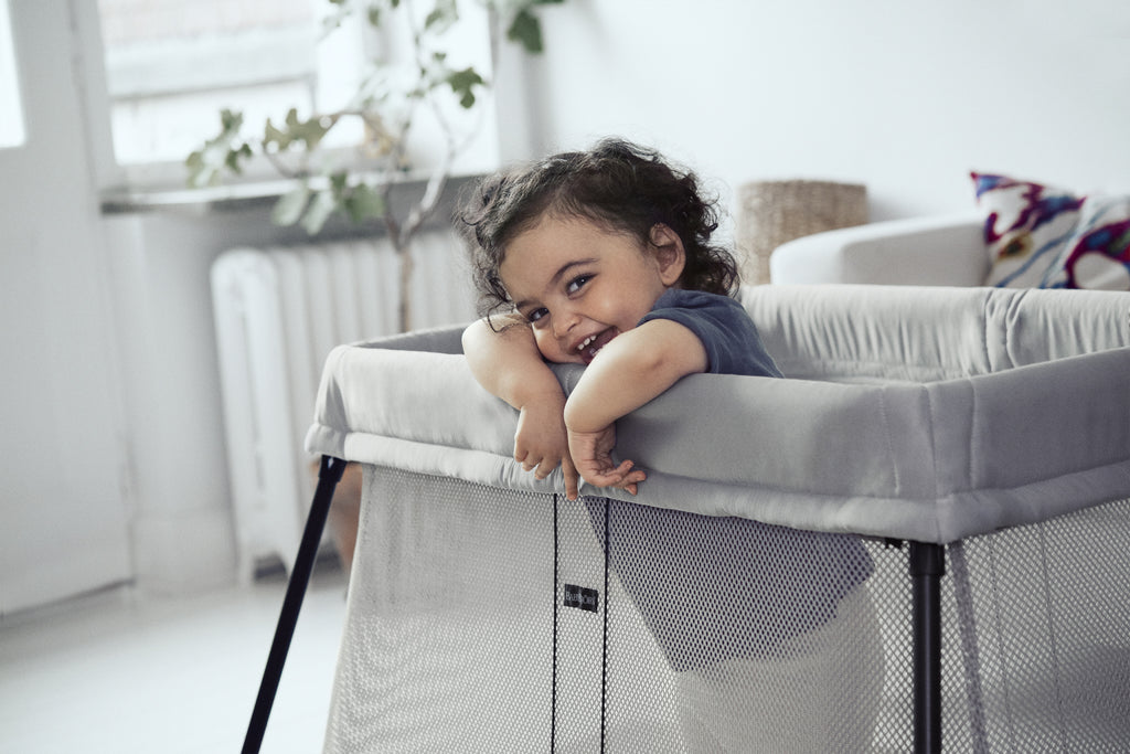BabyBjorn Travel Cot Silver with Fitted Sheet - The Baby Service - Lifestyle
