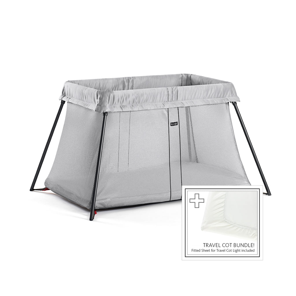 BabyBjorn Travel Cot Silver with Fitted Sheet - The Baby Service
