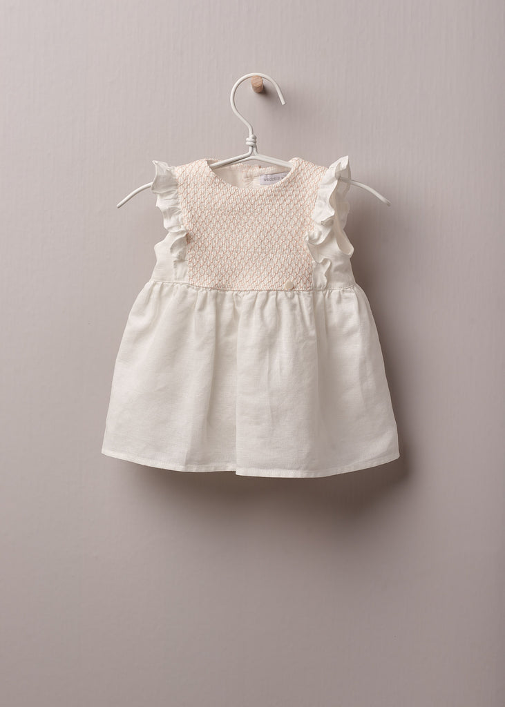 Wedoble - White & Peach Smocked Linen Dress - The Baby Service