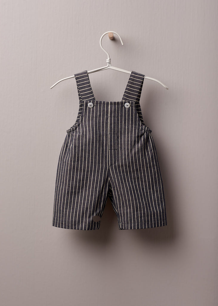 Wedoble - Blue & White Stripe Dungarees - The Baby Service