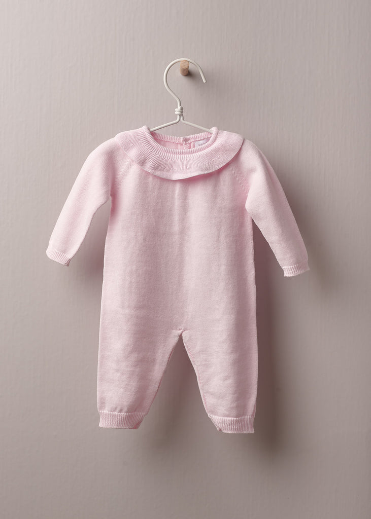 Wedoble - Pink Knitted Ruffle Collar Romper - The Baby Service