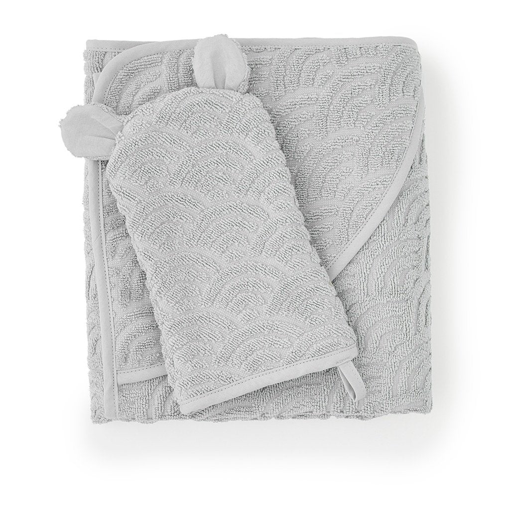 Cam Cam Copenhagen New Born Baby Bath Wash Glove in Grey with Towel
