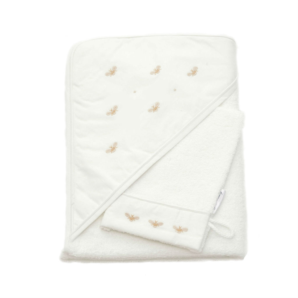 Gordonsbury Hooded Towel & Bath Mitt Set Beige Bee