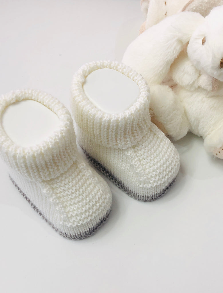 White & Grey, Knitted Baby Booties