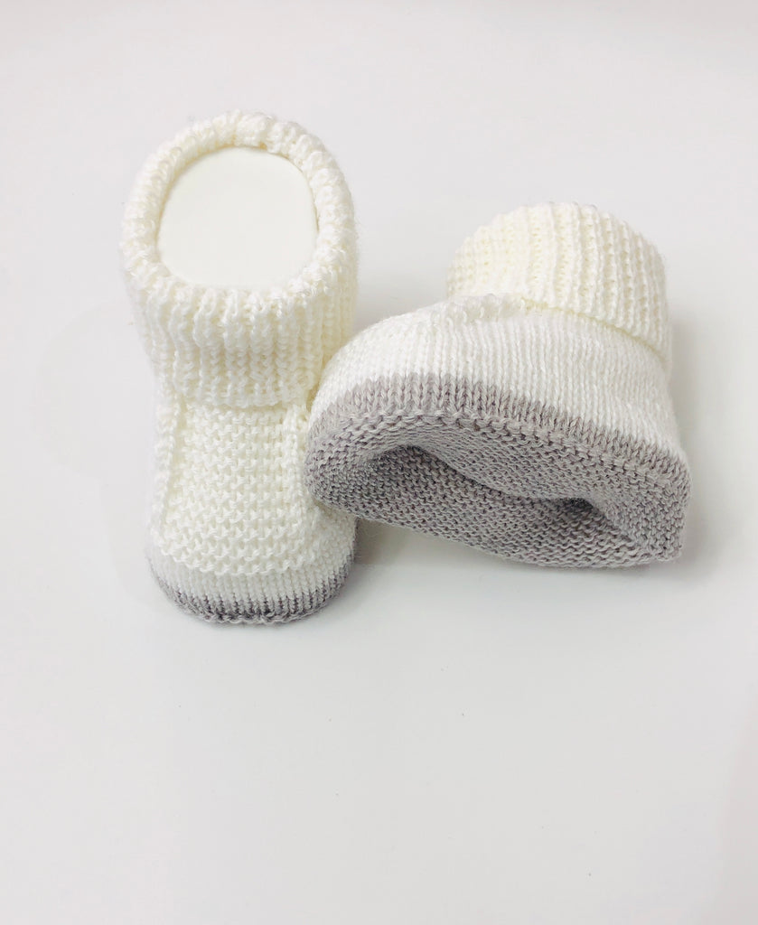 White & Grey, Knitted Baby Booties Love In Kyo