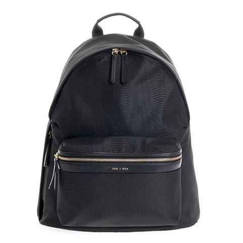 Jem + Bea Jamie Python Nylon Backpack in Black - Luxury Changing Bag - The Baby Service