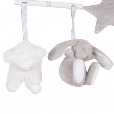 Grey Musical Cot Mobile Animals Bunny