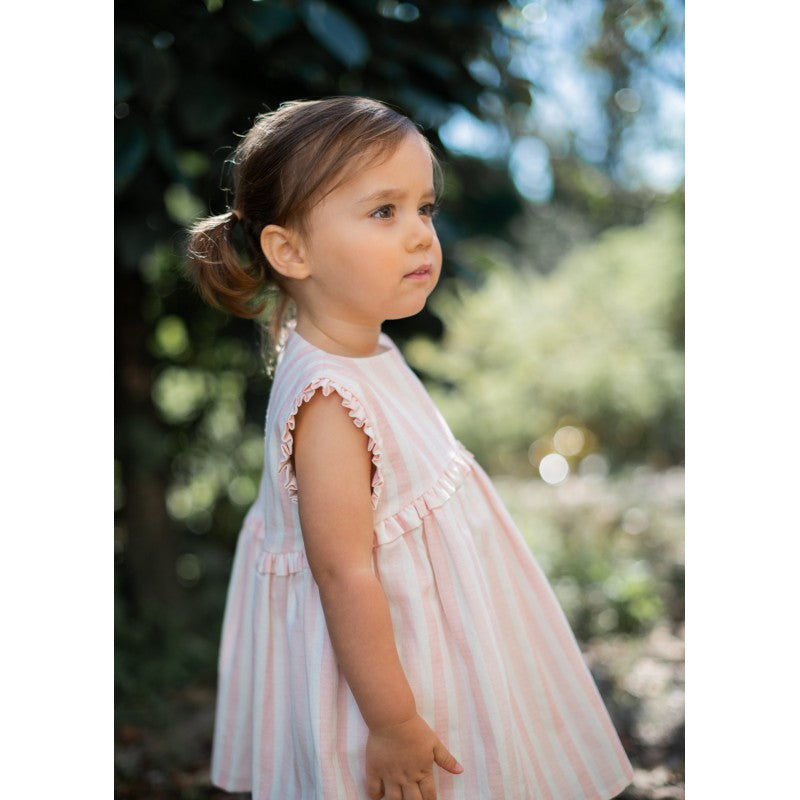 Wedoble - Pink & Ivory Cotton Dress - Baby Clothing - The Baby Service