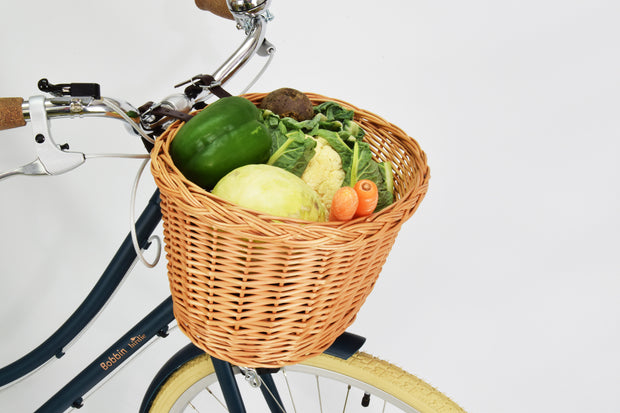 Bobbin Allotment Medium Cycling Basket on bike