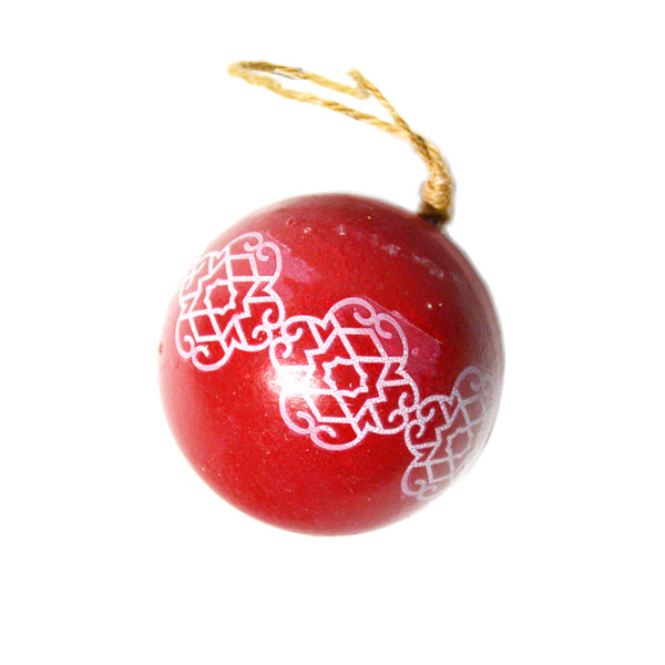 Red Wood Globe Ornament