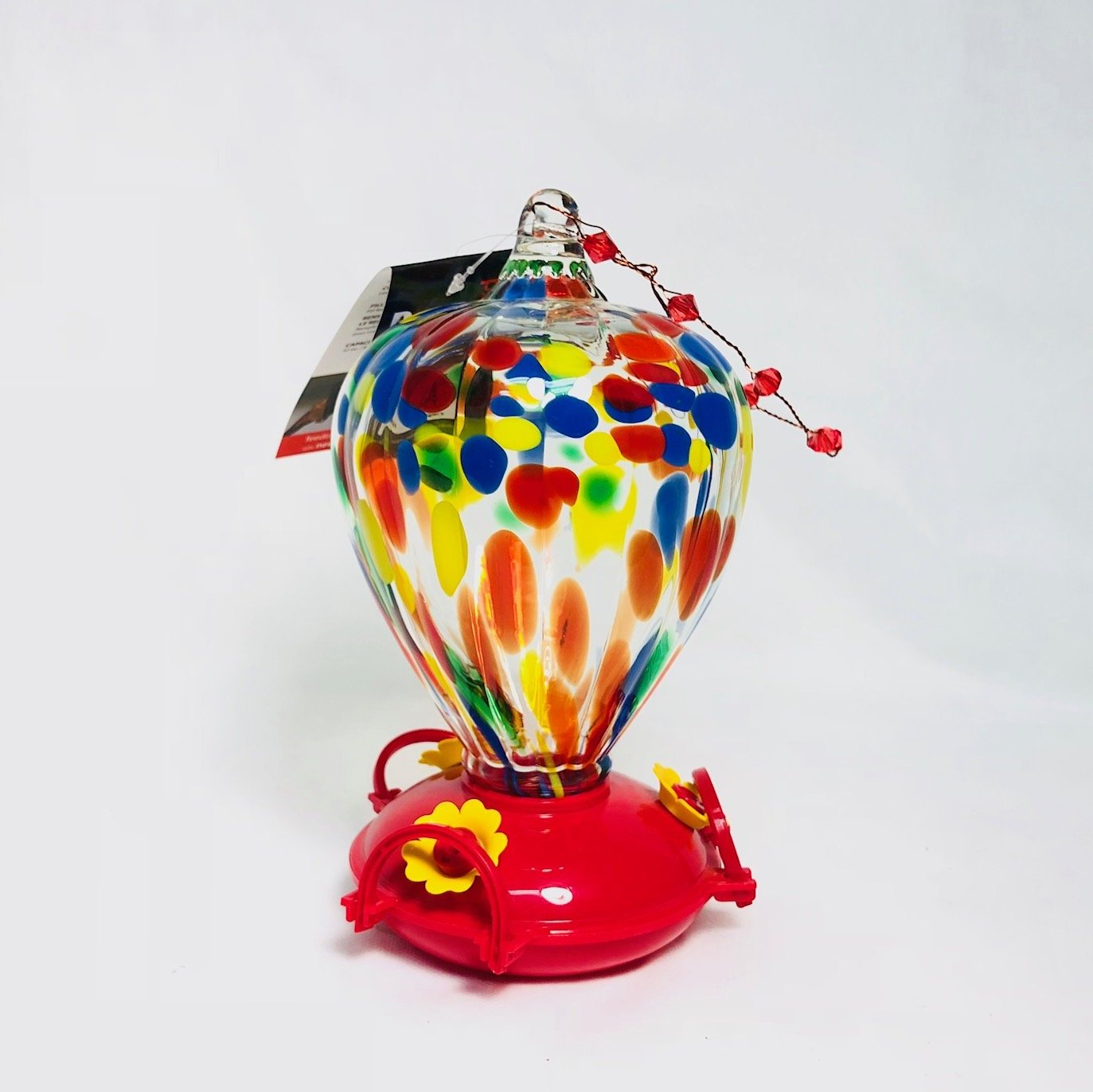Glass Art Hummingbird Feeder