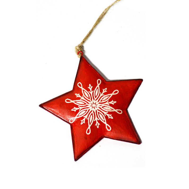 Red Star Tin Ornament