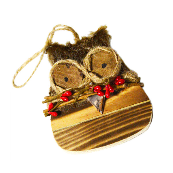 Wood Owl With Furry Ears Ornament