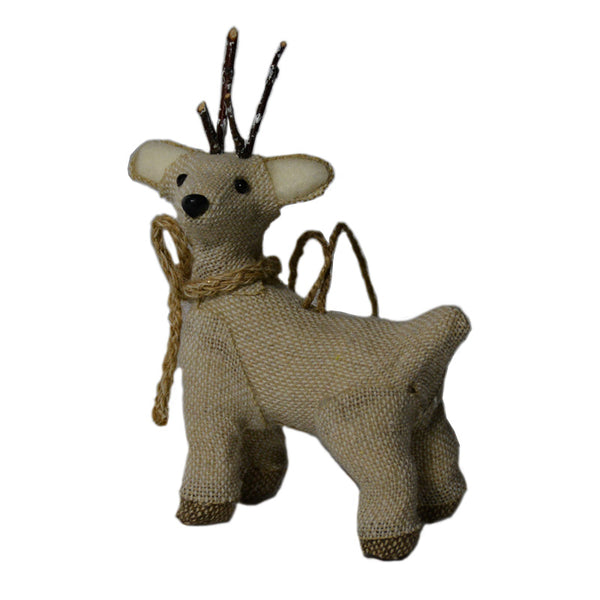 Burlap Deer Ornament
