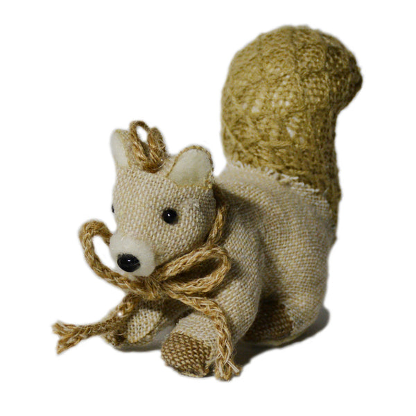 Burlap Squirrel Ornament