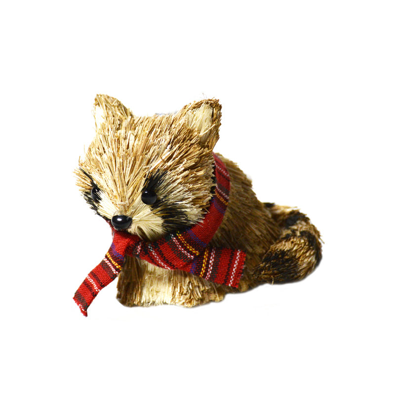 Raccoon Ornament with Tartan Scarf