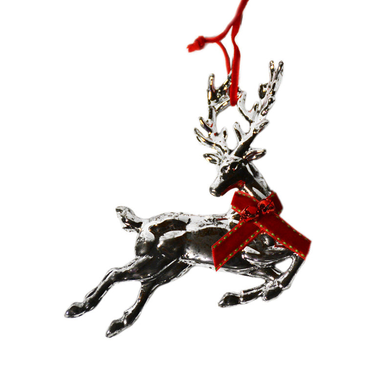 Silver Deer Ornament Red Ribbon