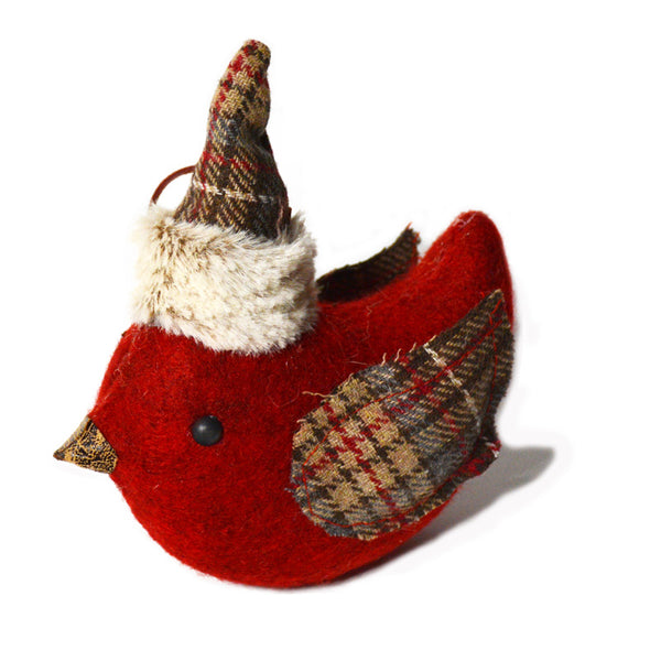 Red Plaid Bird Ornament