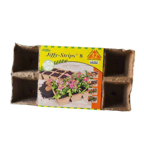 Seed Starter Jiffy Strip 8 - 32 Peat Pots Square